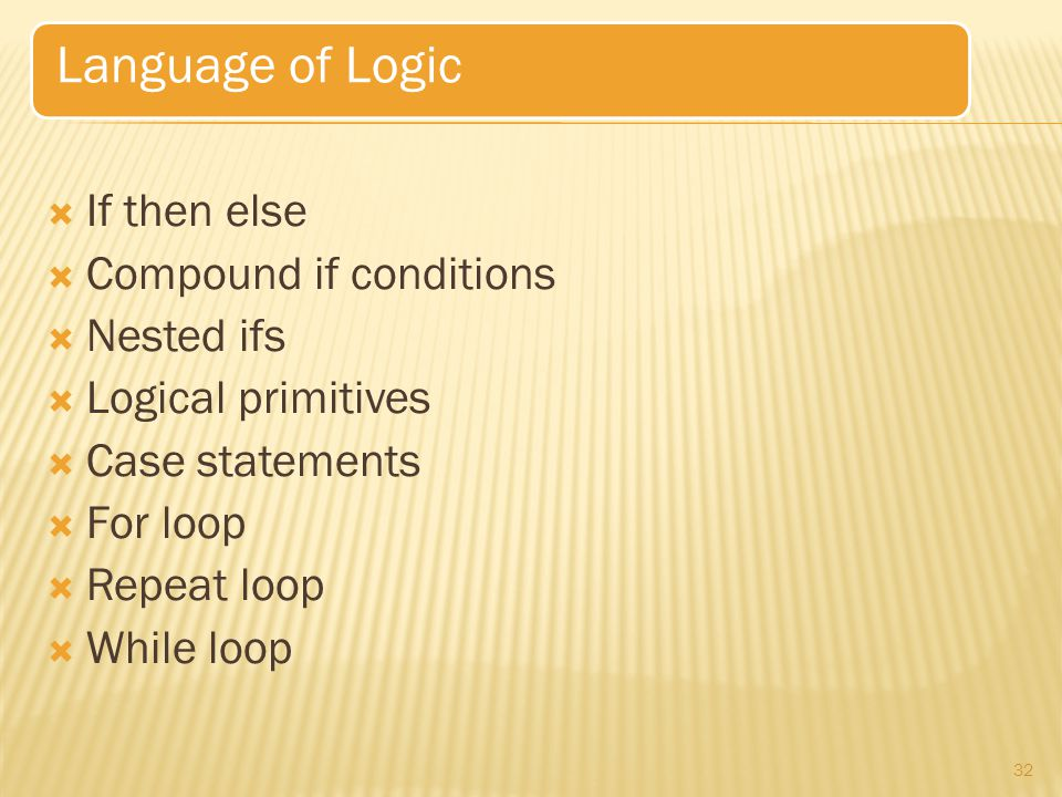 Language of Logic If then else Compound if conditions Nested ifs