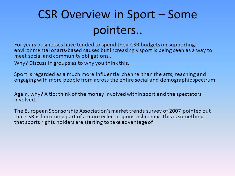 CSR Overview in Sport – Some pointers..