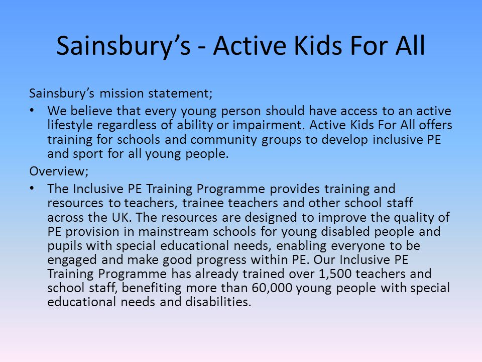 Sainsbury's - Active Kids For All