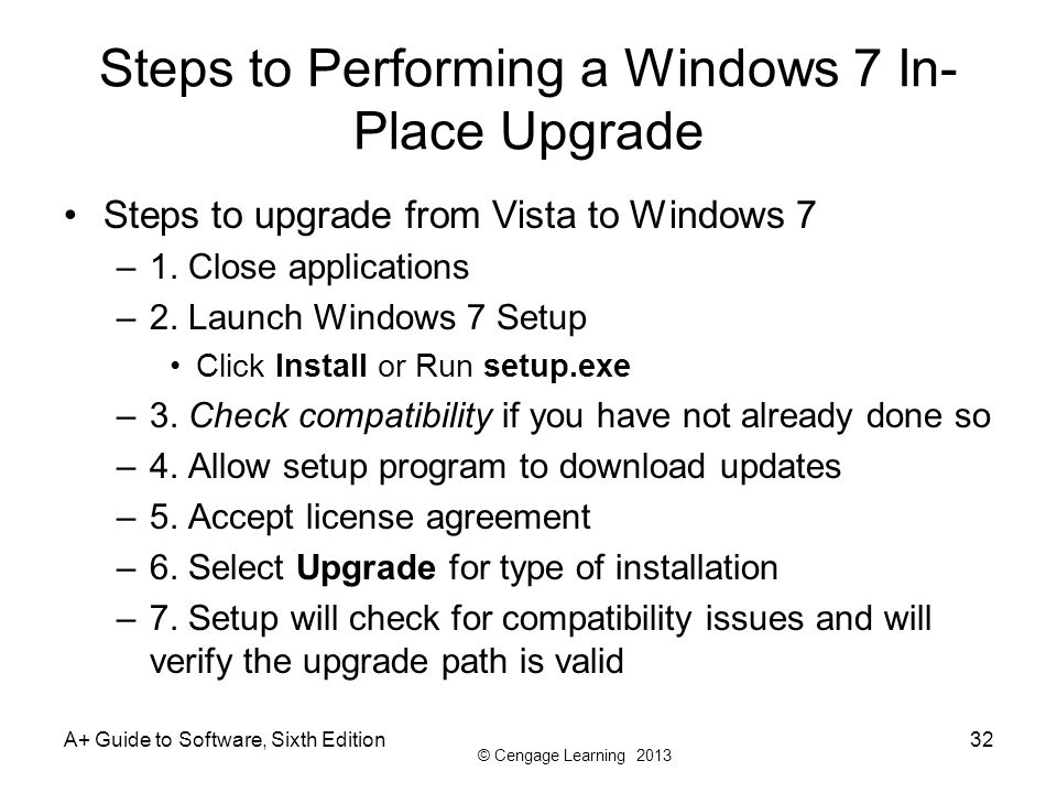 Steps to Performing a Windows 7 In-Place Upgrade