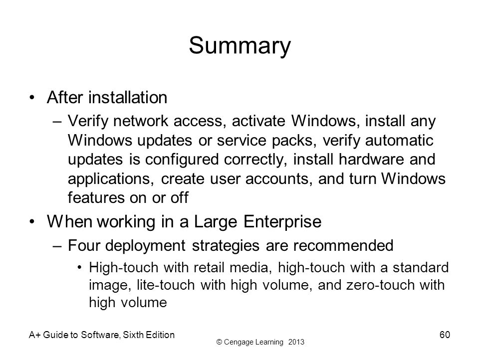 Summary After installation When working in a Large Enterprise