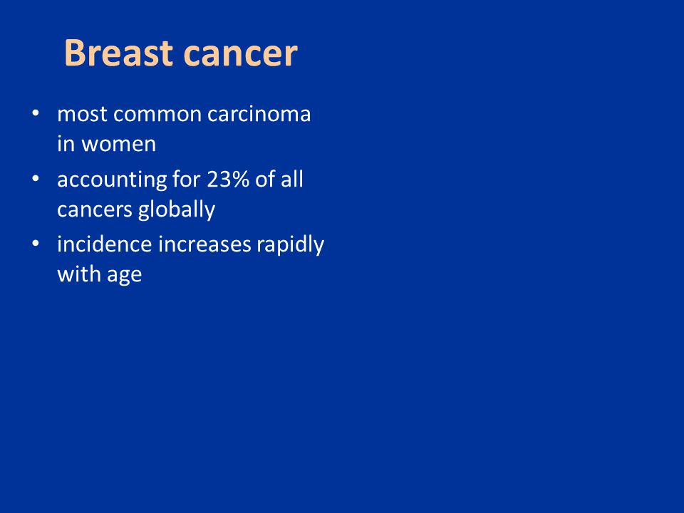 Breast cancer most common carcinoma in women