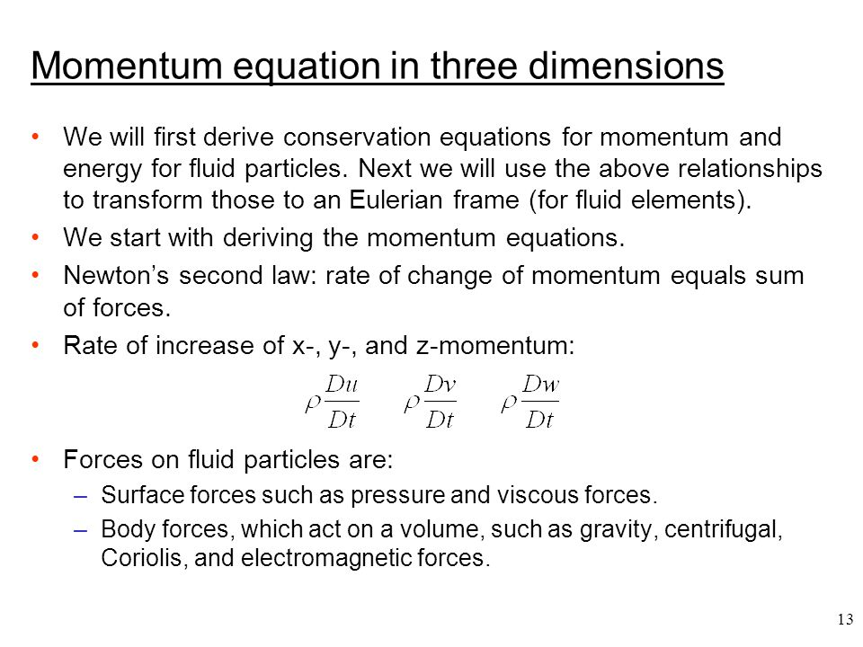 Momentum equation in three dimensions