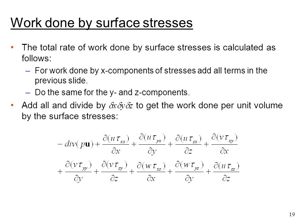 Work done by surface stresses