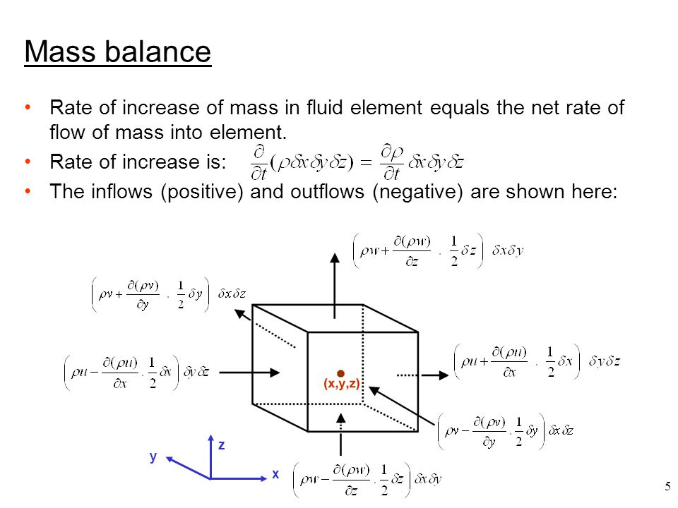 Mass balance Rate of increase of mass in fluid element equals the net rate of flow of mass into element.