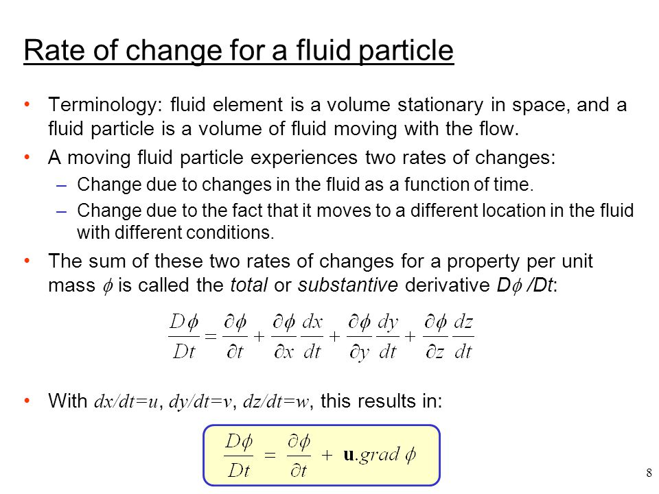 Rate of change for a fluid particle