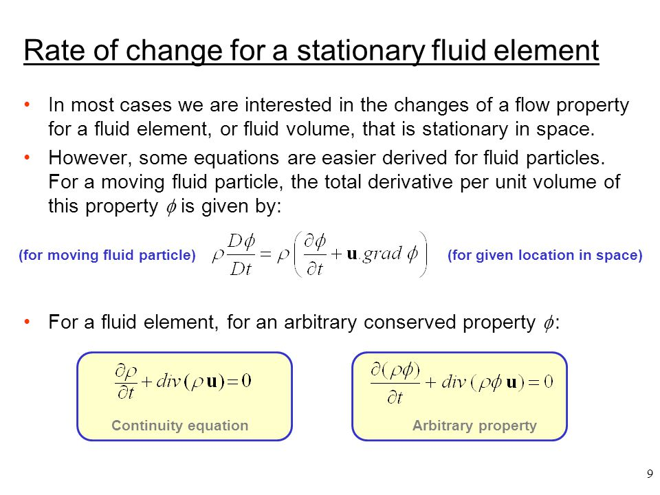 Rate of change for a stationary fluid element
