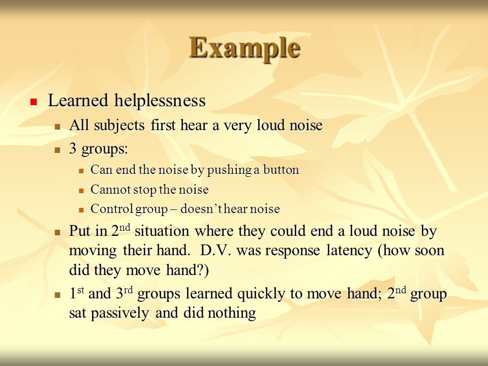learned helplessness essay Effects of motivation on learned helplessness learned helplessness is a psychological condition in which a human being or an animal has learned to act or behave helpless in a particular situation, even when it has the power to change its unpleasant or even harmful circumstance (seligman, 1975.