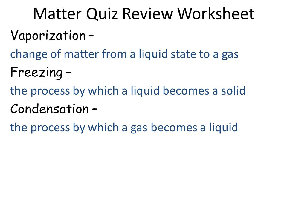 Matter Quiz Review Worksheet Answers Ppt Download