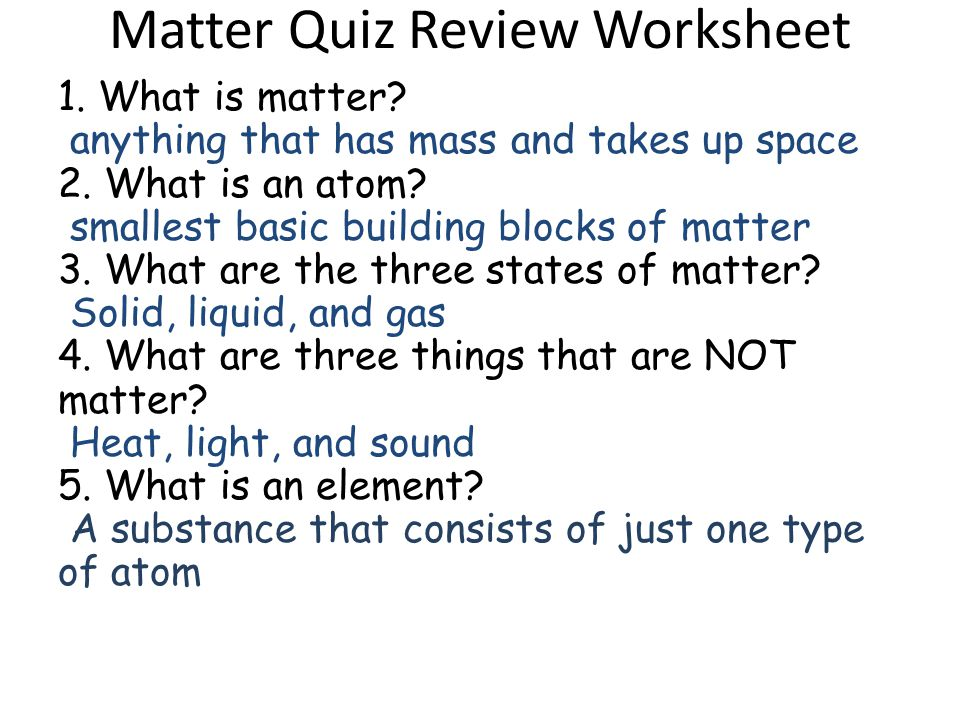 Printable Worksheets solid liquids and gases worksheets : Matter Quiz Review Worksheet Answers - ppt download