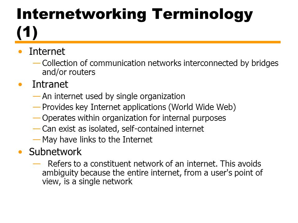 Internetworking Terminology (1)