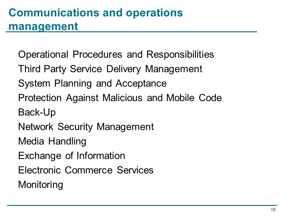 Communications and operations management