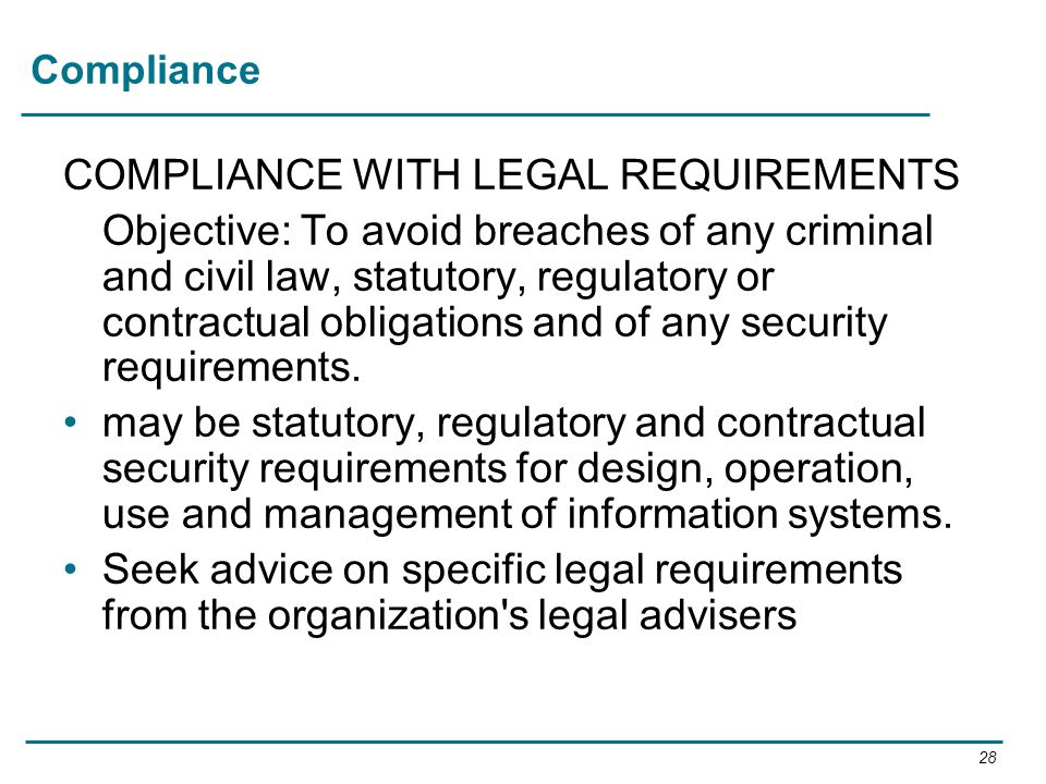 COMPLIANCE WITH LEGAL REQUIREMENTS