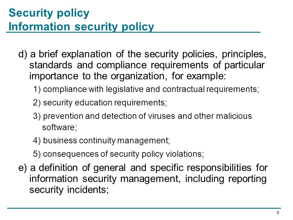 Security policy Information security policy