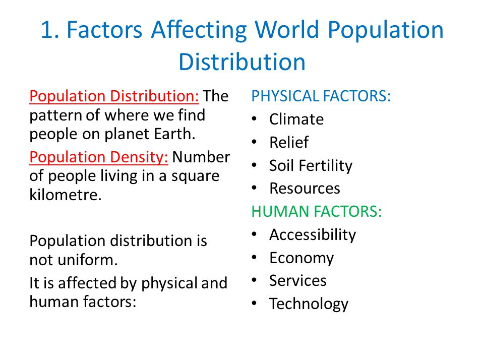 what factors affect population distribution