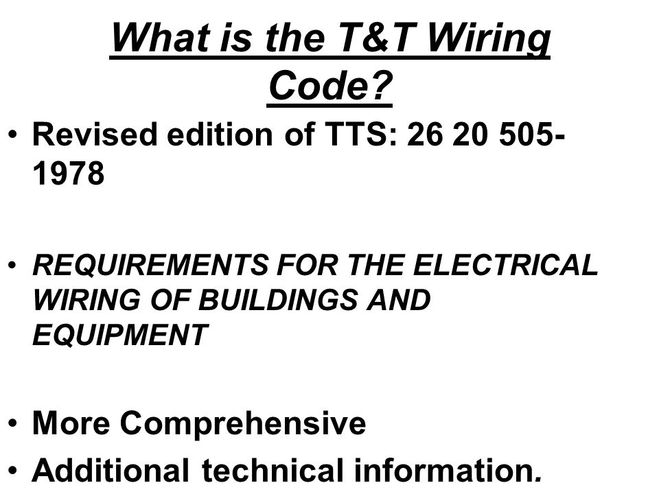 introduction to t u0026t electrical wiring code tts 171  part 1  ppt video online download