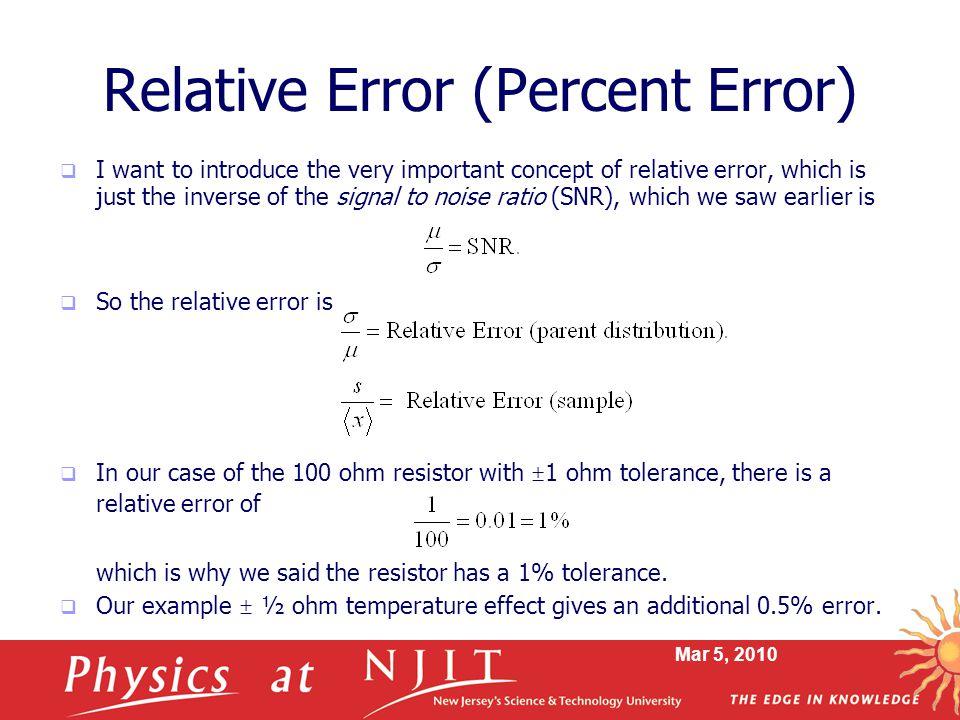 Physics 114 Lecture 11 Error Analysis Ppt Video Online Download