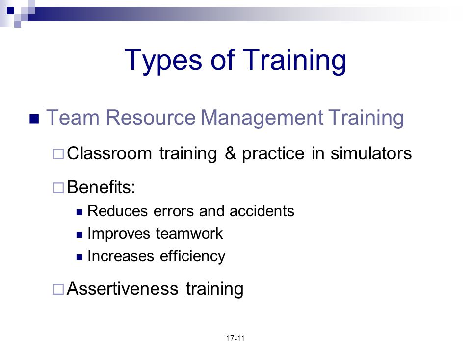 Types of Training Team Resource Management Training