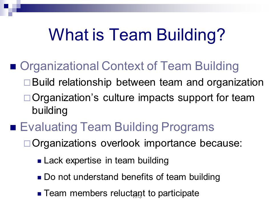 What is Team Building Organizational Context of Team Building