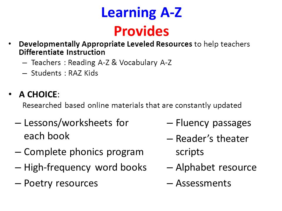Ellen Myers English Language Fellow Ppt Download Reading A Z Members Learning A Z Provides Lessons Worksheets For Each Book