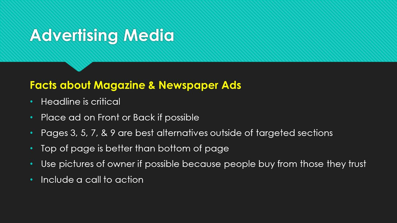 Advertising Media Facts about Magazine & Newspaper Ads