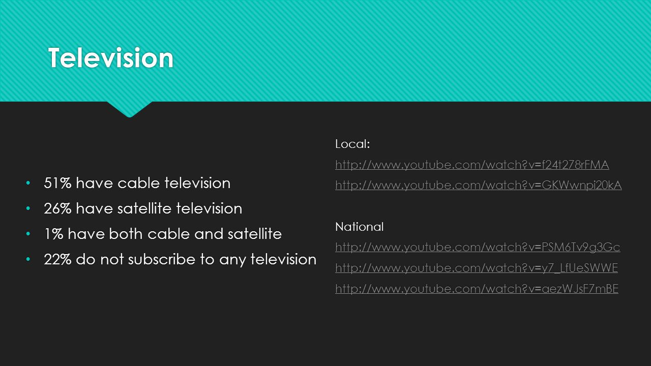 Television 51% have cable television 26% have satellite television