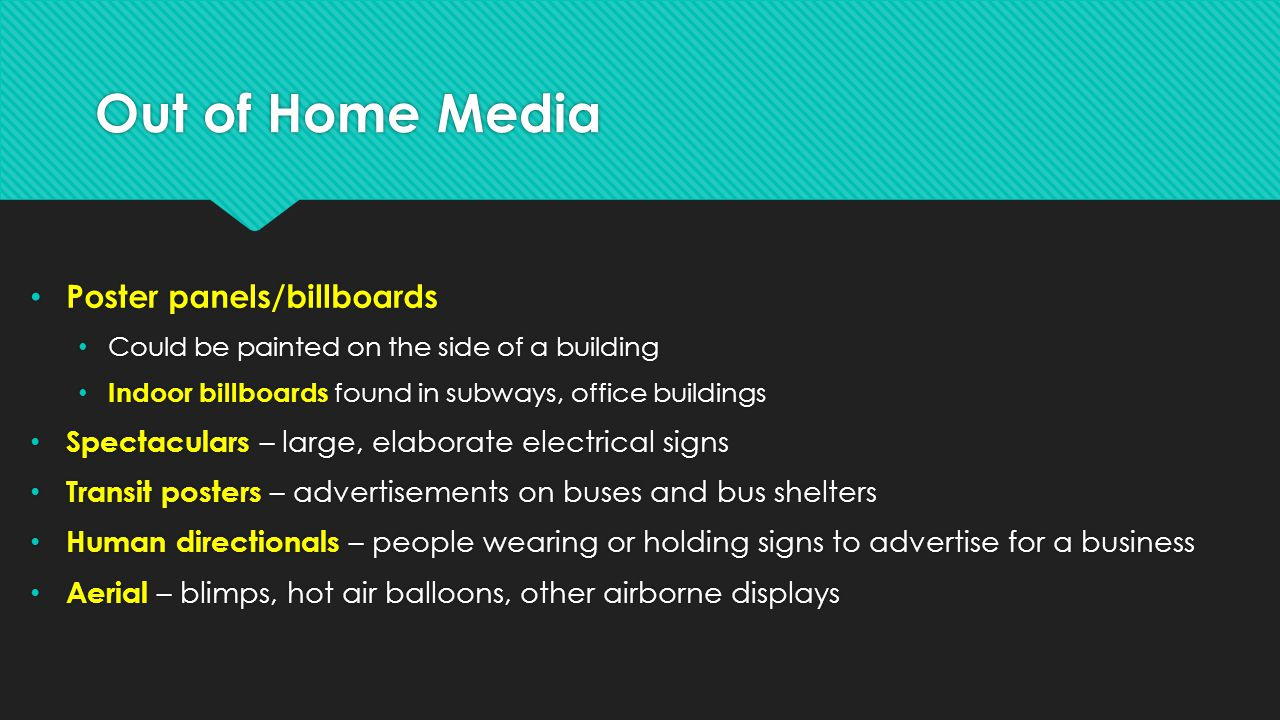 Out of Home Media Poster panels/billboards