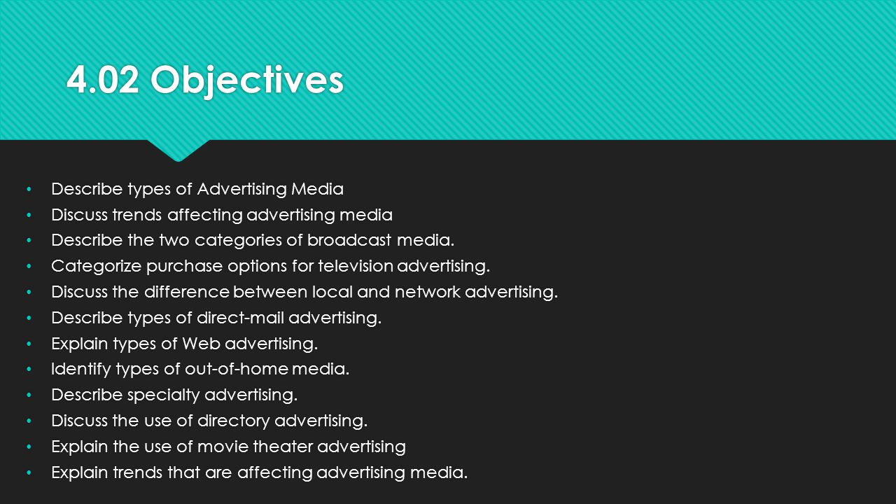 4.02 Objectives Describe types of Advertising Media