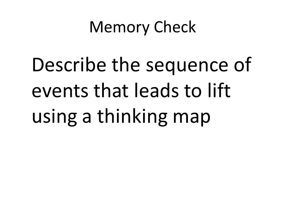 Memory Check Describe the sequence of events that leads to lift using a thinking map