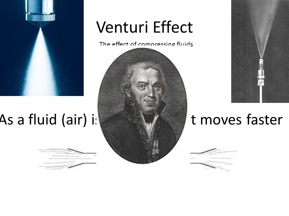 Venturi Effect As a fluid (air) is compressed it moves faster