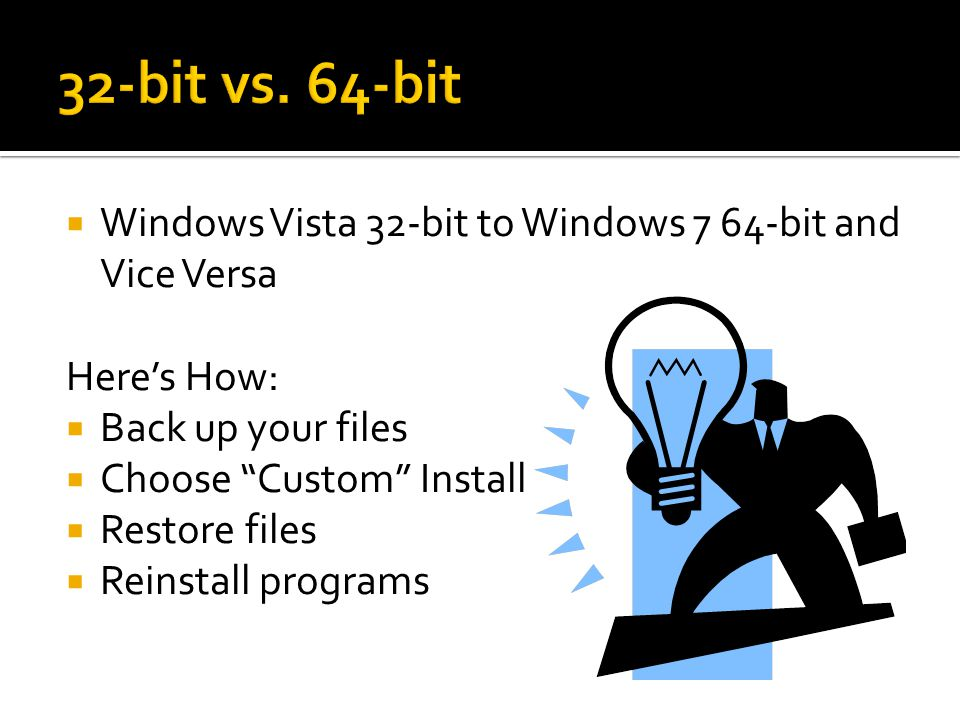 32-bit vs. 64-bit Windows Vista 32-bit to Windows 7 64-bit and Vice Versa. Here's How: Back up your files.