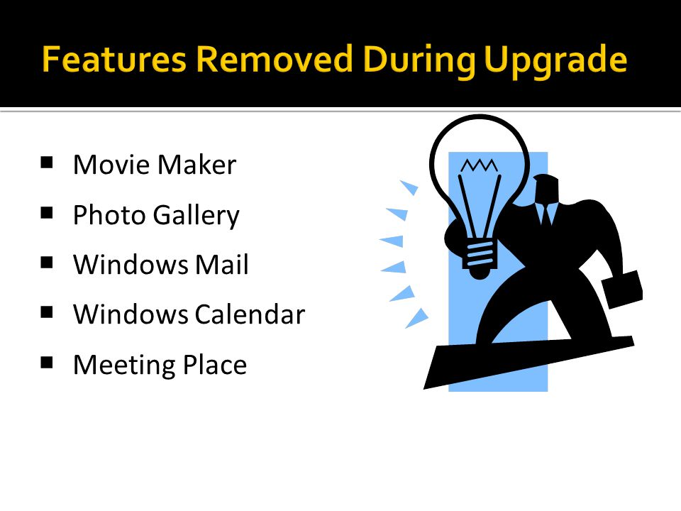 Features Removed During Upgrade
