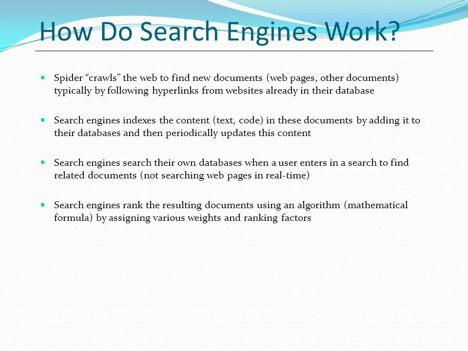 How Do Search Engines Work