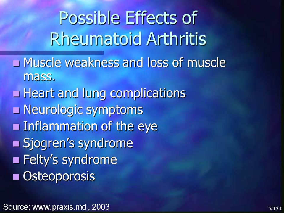 Possible Effects of Rheumatoid Arthritis
