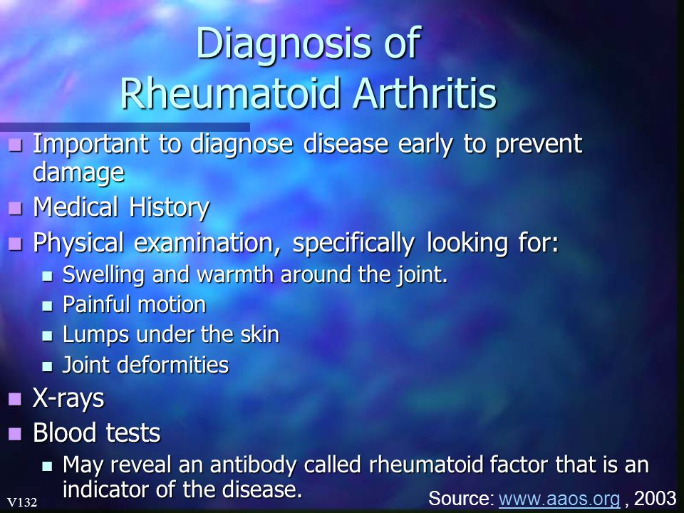 Diagnosis of Rheumatoid Arthritis