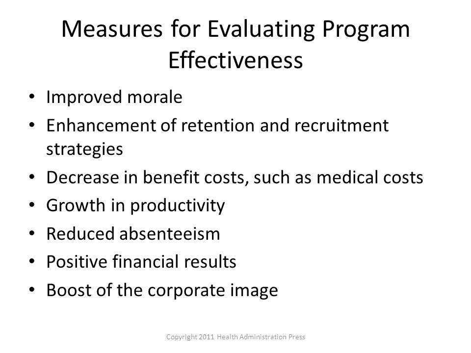 Measures for Evaluating Program Effectiveness