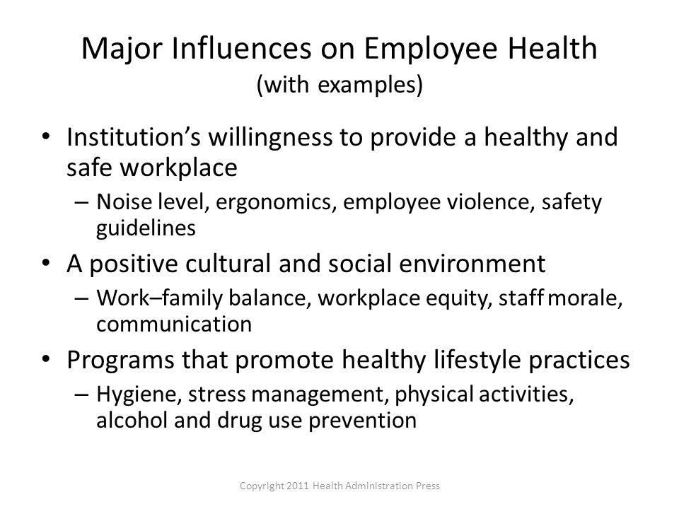 Major Influences on Employee Health (with examples)