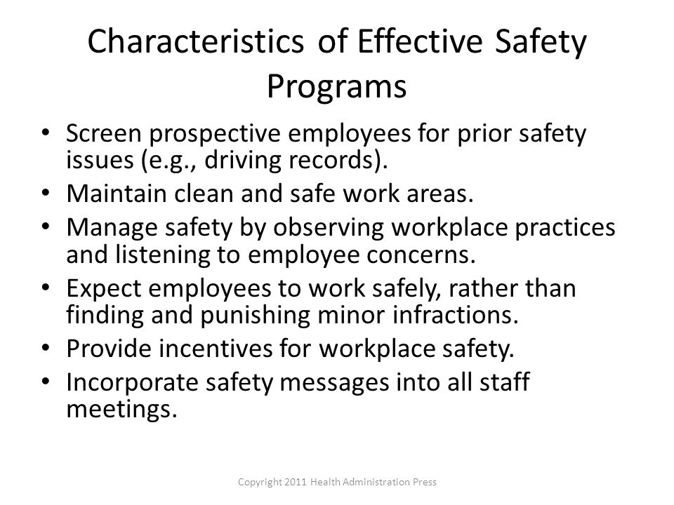 Characteristics of Effective Safety Programs