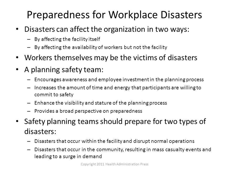 Preparedness for Workplace Disasters