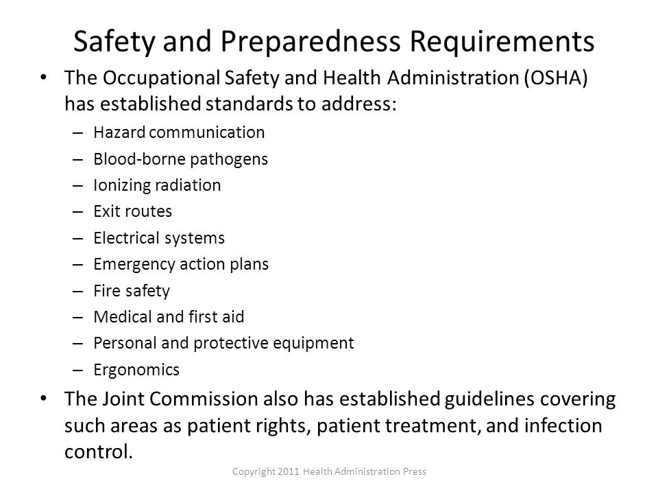 Safety and Preparedness Requirements