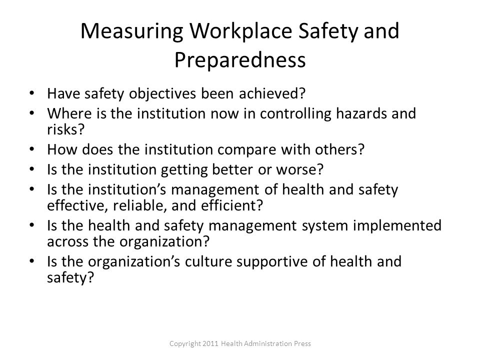 Measuring Workplace Safety and Preparedness
