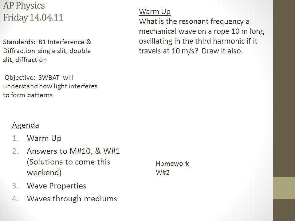 AP Physics Monday Warm Up