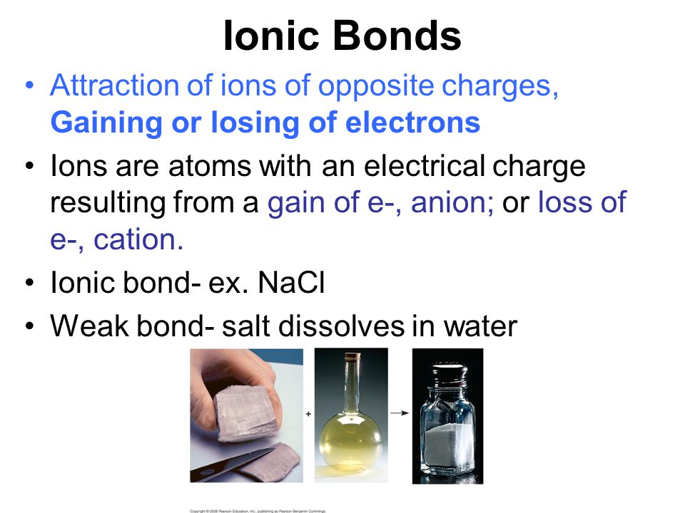Ionic Bonds Attraction of ions of opposite charges, Gaining or losing of electrons.