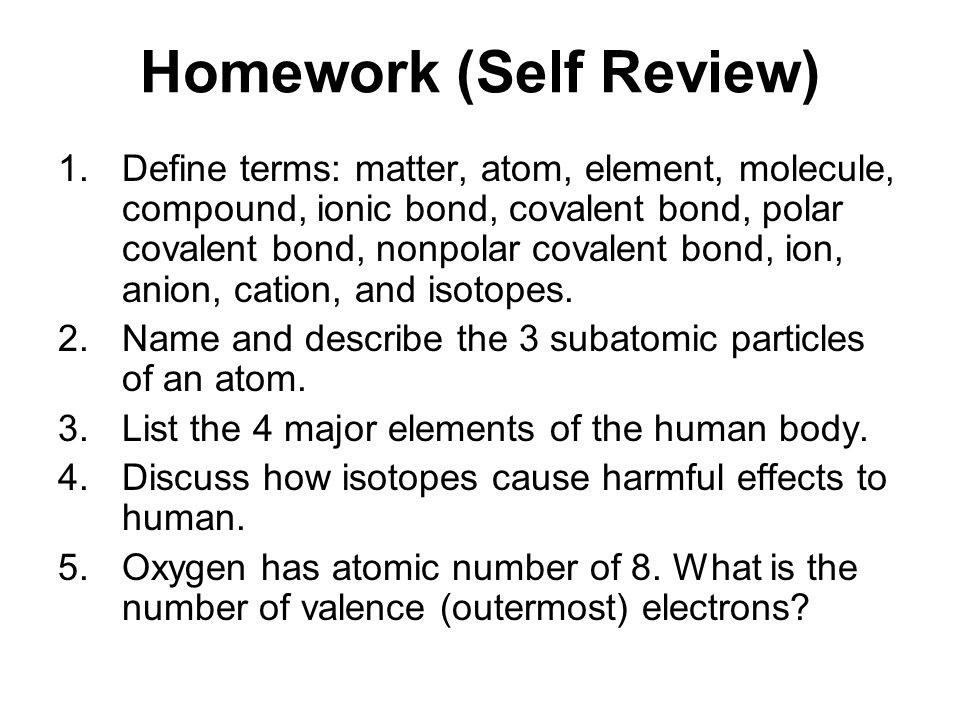 Homework (Self Review)