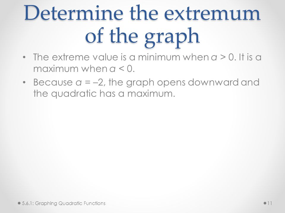 Determine the extremum of the graph