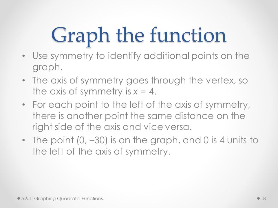 Graph the function Use symmetry to identify additional points on the graph.