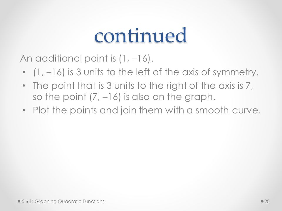 continued An additional point is (1, –16).