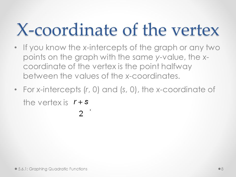 X-coordinate of the vertex