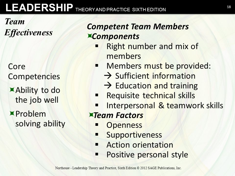 Competent Team Members Components Right number and mix of members
