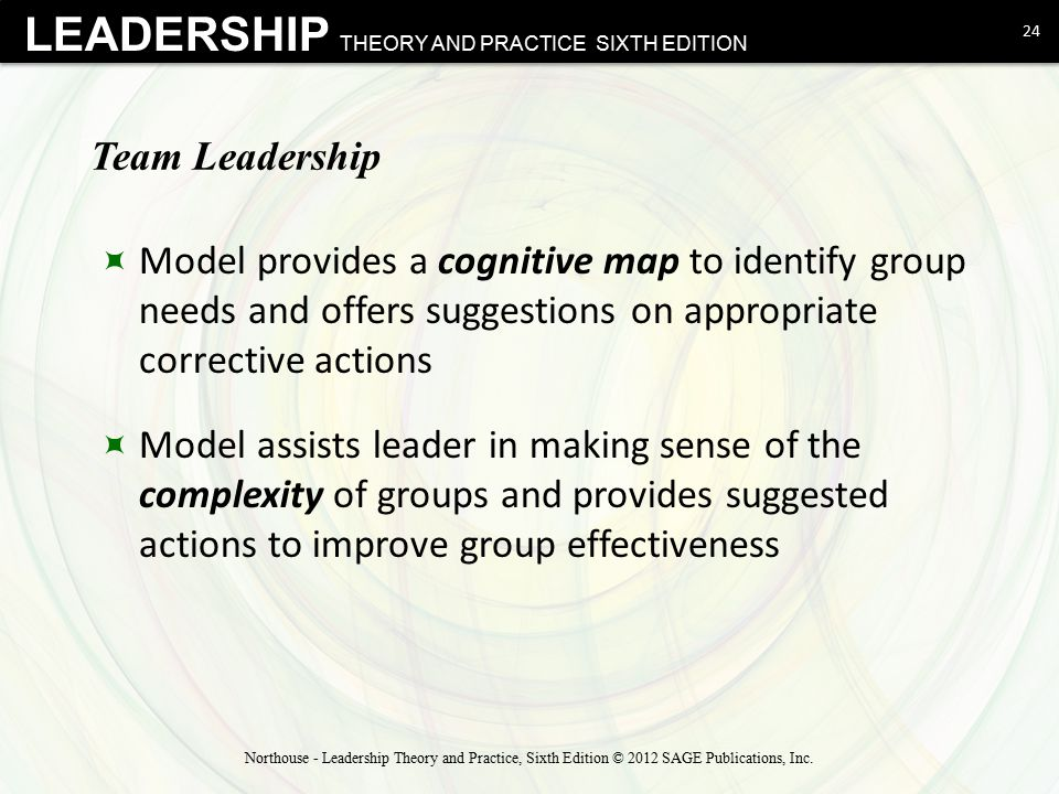 Team Leadership Model provides a cognitive map to identify group needs and offers suggestions on appropriate corrective actions.